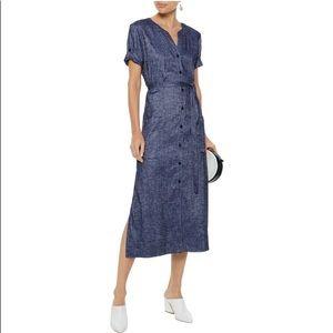 Theory: Belted Linen-blend Chambray Midi Dress